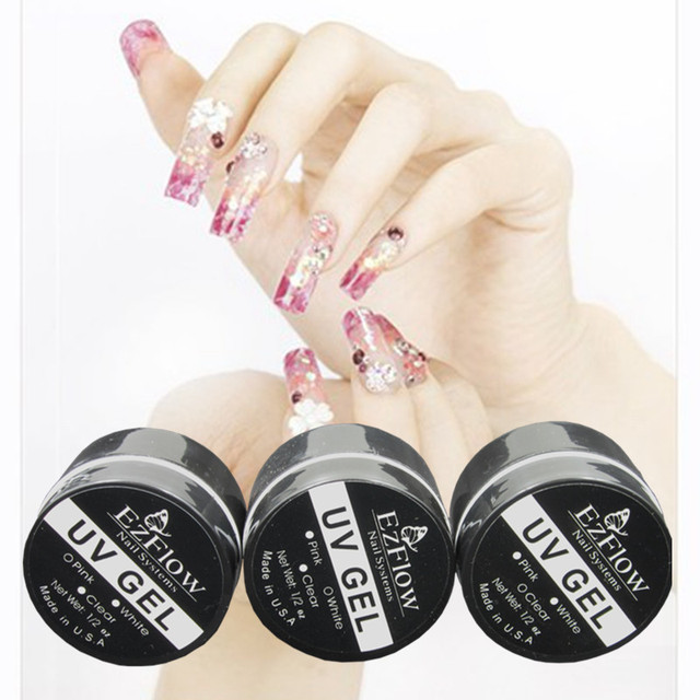 6pcs UV builder gel for creating fantastic crystal french nail effect , clear , white , pink , transparent  uv gel , wholesale