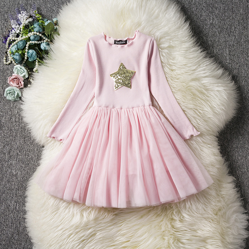U-SWEAR 2019 New Arrival   Flower     Girl     Dresses   Full Sleeve O-Neck Star Embroidery Sequined Chiffon Ball Gown Pageant   Dress   Vestido