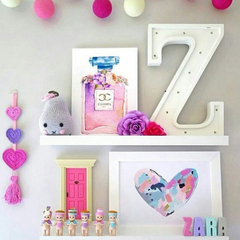 Novelty Wooden Letter Alphabet Led Lights Nursery Baby