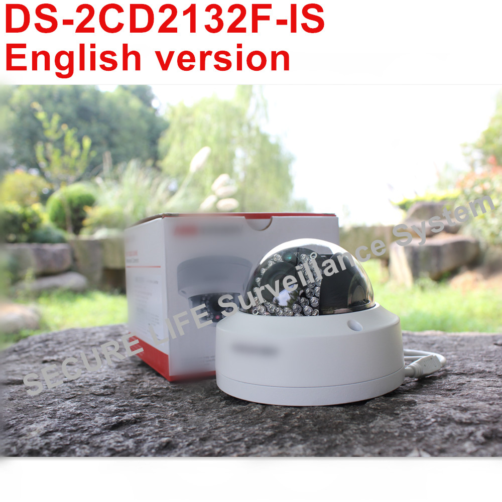 DHL free shipping English version DS-2CD2132F-IS 3MP CCTV camera POE, mini dome IP security camera H.264 SD card recording dhl free shipping english version ds 7108ni e1 v w embedded mini wifi nvr poe 8ch for up to 6mp network ip camera