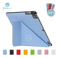 4 Shapes For Apple iPad 4 3 2 Case PU Leather Smart Cover Smartcover for iPad2 iPad3 iPad4 with Screen Protector Film Stylus Pen