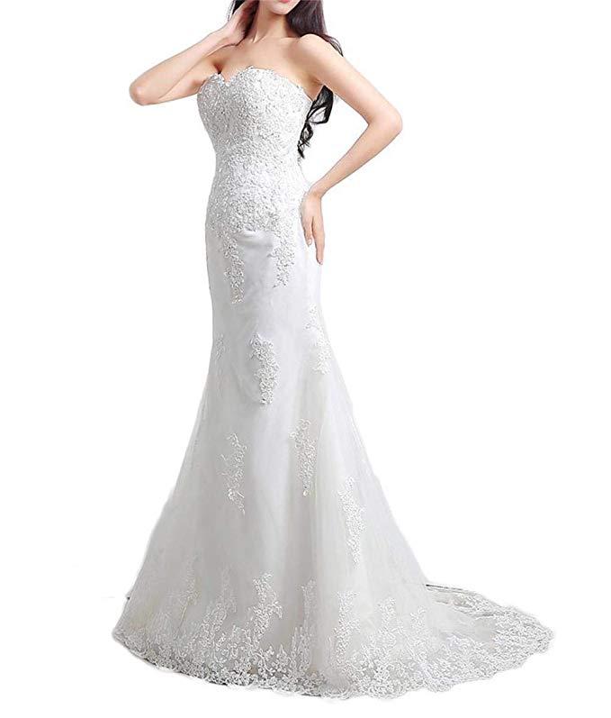 Elegant Applique Beaded Sweetheart Lace-up Long Wedding Dress For Bride Vestidos De Noiva