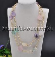 ZZ7940 25mm Baroque Original Massive Multicolor Crystal Chain Necklace 40inch