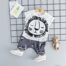Summer Short Sleeve Cartoon Lion T-shirt+Shorts 2pcs Toddler Outfits Set New Brand Cotton Sport Infant Clothing Baby Boy Clothes