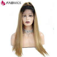 Fabwigs 150% Density Ombre 1B 27 Pre Plucked Full Lace Human Hair Wig with Baby Hair Brazilian Remy Hair