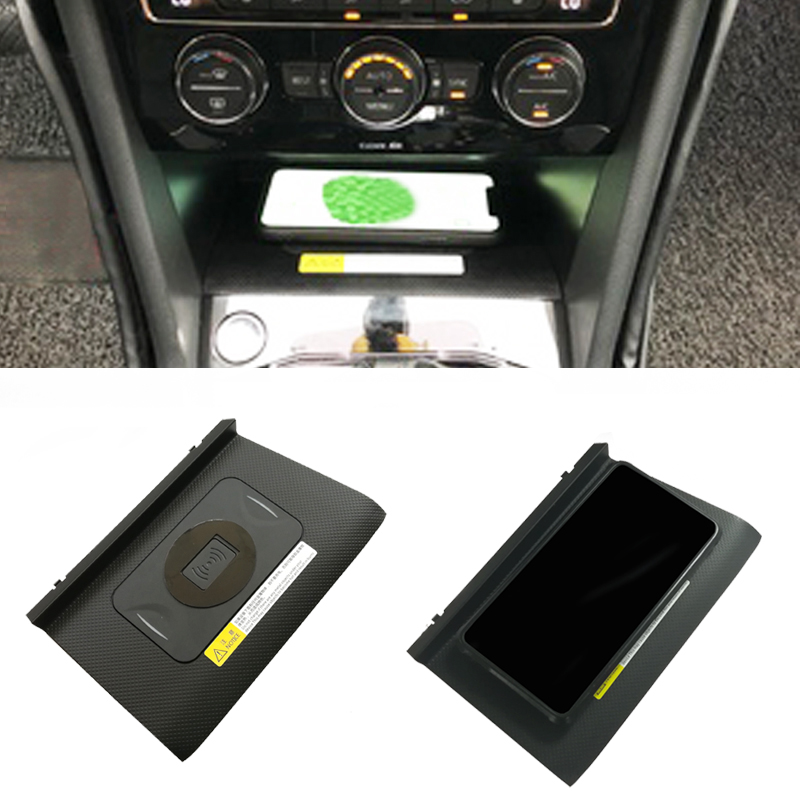 10W Car QI Wireless Charger Adapter Fast Charging Panel Phone Holder Accessories For VW Tiguan MK2 Allspace 2017 2018 For IPhone
