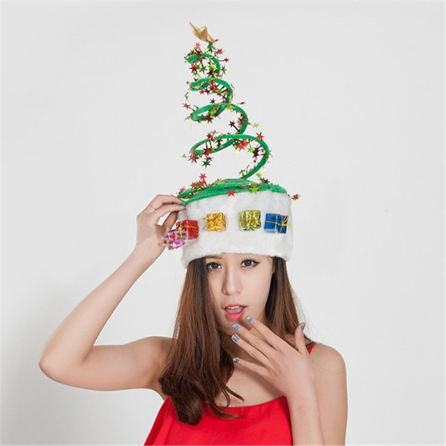 04845a4e3c9d3 1pc Creative Spiral Non-woven Christmas Hat Party Supplies Funny Christmas  Theme Clothes Accessories Decorative Christmas Hat