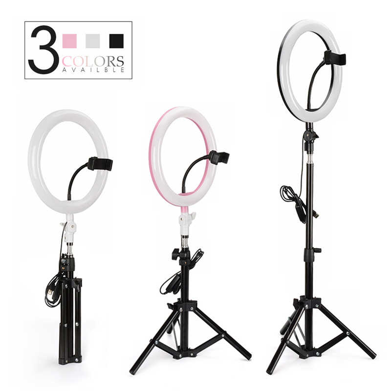 "Novo LED Ring Light 10 Selfie ""26 cm Fotografia Lâmpada Regulável Photo Studio Luz com USB & Tripé para a Composição De Vídeo Youtube"