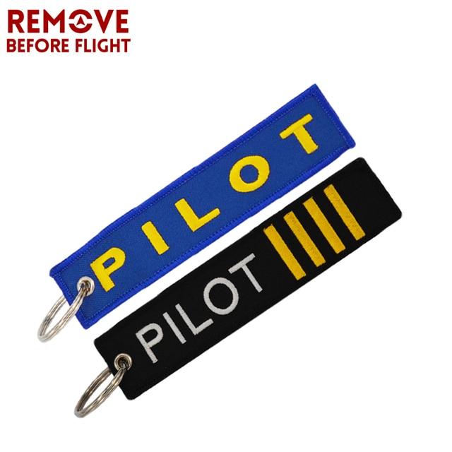 6c3de1010e0 2pcs set Pilot Key Ring OEM Embroidery Luggage Safety Tag Key Fob Remove  Before Flight Key Chain Fashion Aviation Gifts