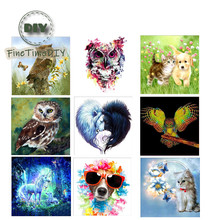 FineTime Animals Owls Dogs Cats 5D DIY Diamond Painting Partial Round Drill Diamond Embroidery Cross Stitch finetime animals owls dogs cats 5d diy diamond painting partial round drill diamond embroidery cross stitch