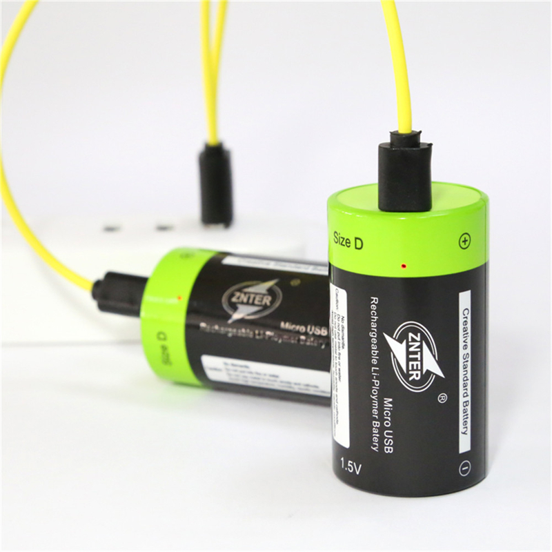 D Size Battery with Micro USB Cable Rechargeable Lithium Batteries ZNTER 1.5V 4000mAh US ...