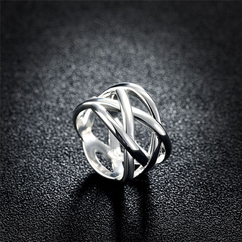 2016 New Fashion Christmas Gift Silver Plated stainless steel rings for women wedding party Jewelry Accessories Free shipping