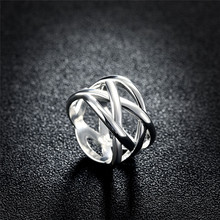 2017 Fashion Gift Silver Plated ring for girl trendy Mesh shape stainless steel party Jewelry rings for women wedding Jewelrys