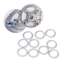 все цены на 10Pcs 2mm Bicycle Chain Wheel Screw Washer Aluminum Spacer Double Change Single Chain Wheel Washer онлайн