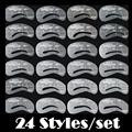 O # 24 Styles Eyebrow Shaping Stencils Grooming Kit Makeup Shaper Set Template Tool Dropship