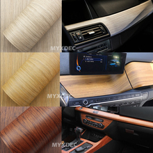 Self-adhesive Vinyl Wood Grain Textured Car Wrap, Car Internal Stickers Wallpaper Furniture Wood Grain Paper Film