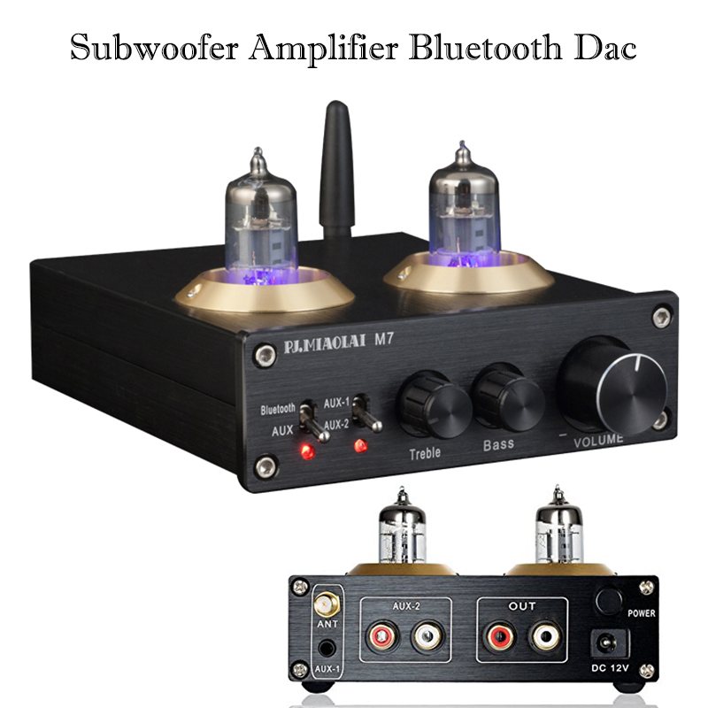 PJ.MIAOLAI M7 Stereo Subwoofer Amplifier Bluetooth Hi fi Power Amplifier Tube Preamp CSRA64215 Amplificador Audio Nobsound