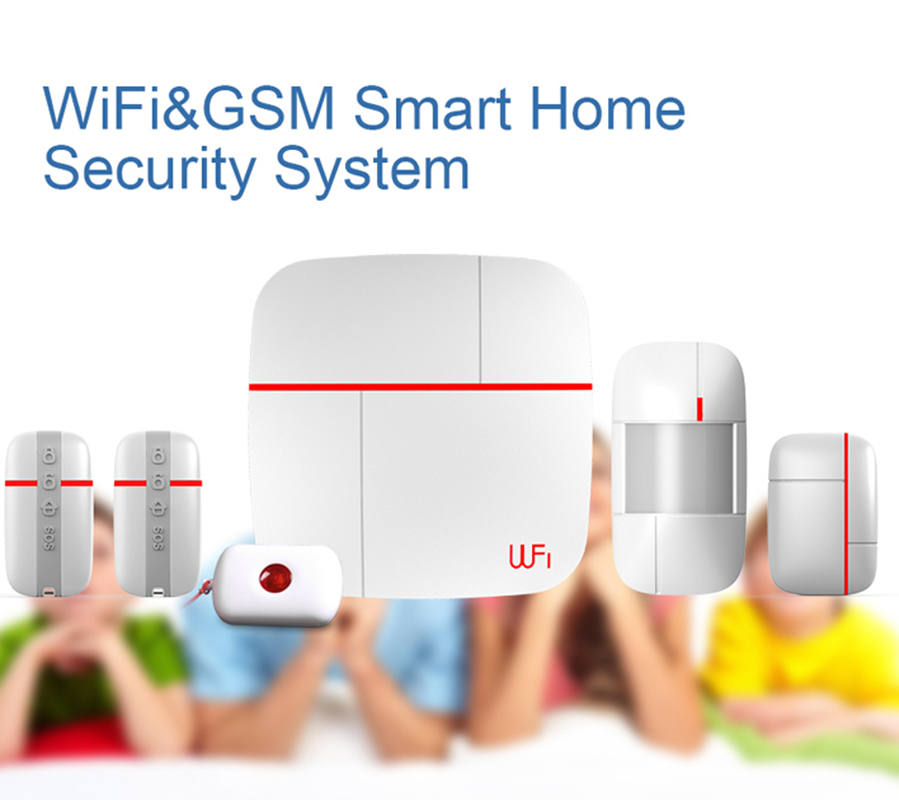 Wireless Home Security Burglar Alarm System Kits WIFI GSM Dual-network 3G GPRS Android IOS APP 433Mhz Sensor Remote Control 433mhz wireless android ios app remote control home security wifi alarm system gsm sms auto dial support home automation control
