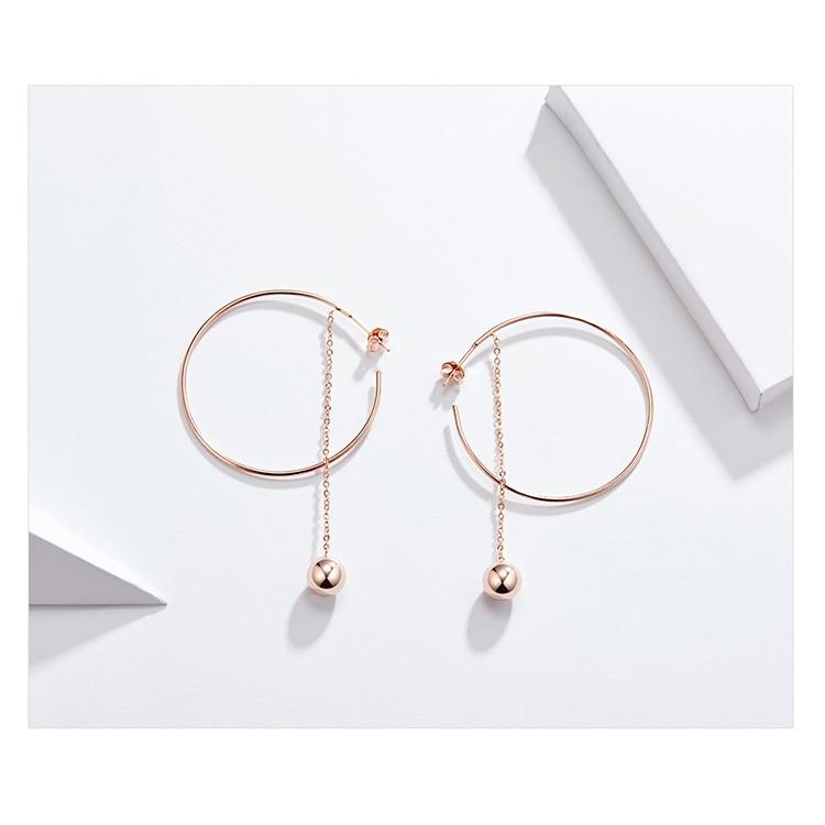 HTB14kEFVH2pK1RjSZFsq6yNlXXa5 BAMOER Popular 100% 925 Sterling Silver Big Circle Round Long Chain Drop Earrings for Women Rock Style Earrings Jewelry SCE569