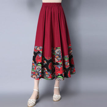 Pleated Skirt Long Skirts For Women High waist Vintage High quality Cotton Linen Patchwork Solid color Black Blue Green casual style high waist solid color cotton blend skirt for women