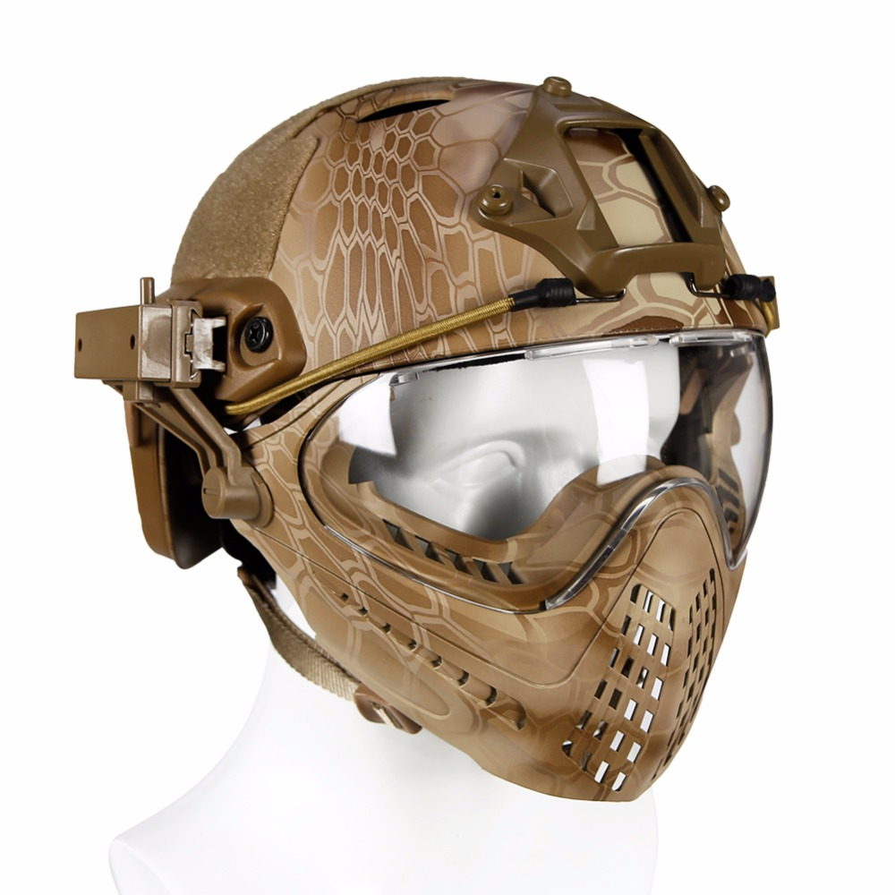 WoSporT Tactical Fast Helmet with Pilot Mask for Outdoor Military Airsoft Paintball CS WarGame Motorcycle Cycling Hunting Helmet uv cs airsoft mask earmuffs professional wind 3 color paintball mask shock full face protect mask free shipping