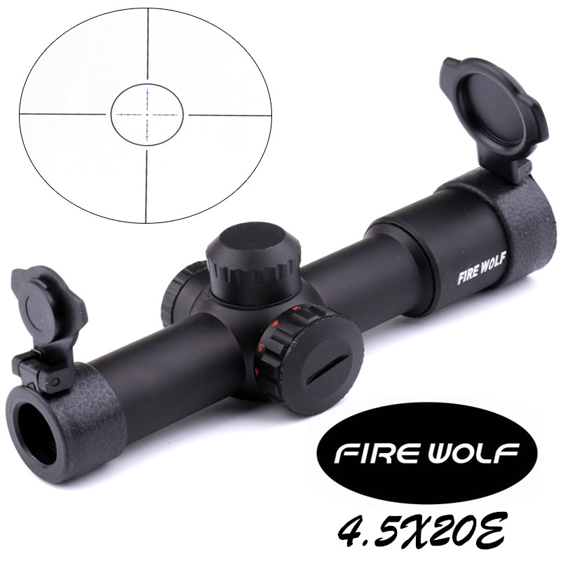 2017 New FRIE WOLF Tactical AK47 AK74 AR15 Hunting scope 4.5X20 Red Illumination Mil-Dot Riflescope new lone wolf and cub v 7