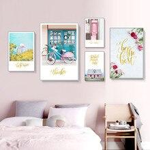 Scandinavian Style Landscape Canvas Poster Nordic Home Decoration Pink Flamingo Bike Wall Art Print Painting Decorative Picture