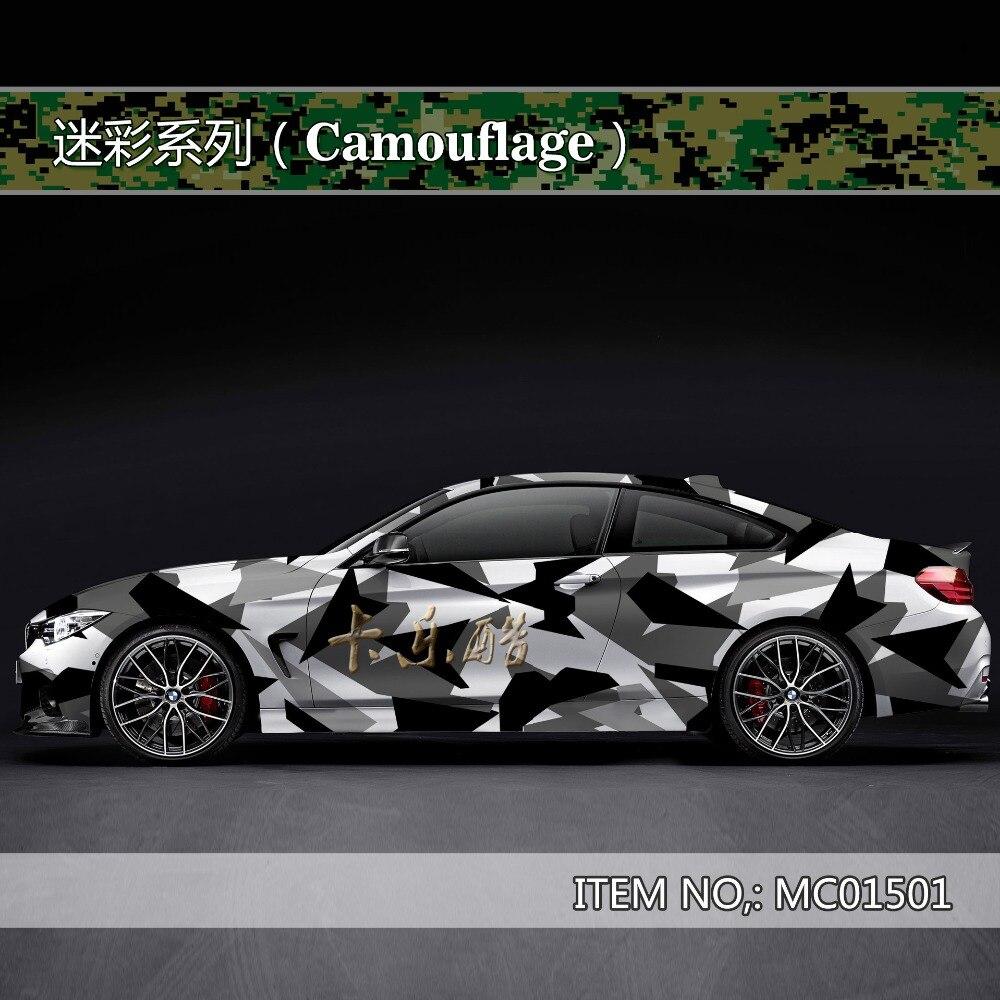 Camouflage personnalisé voiture autocollant bombe Camo vinyle Wrap voiture Wrap avec dégagement d'air flocon de neige bombe autocollant voiture carrosserie StickerMC015