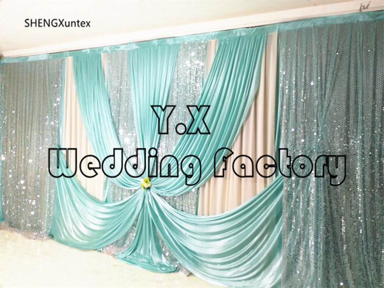 White Backdrop Curtain With Tiffany blue Swag Drape And The Sequin Fabric Ice silk background for birthday party