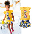 2016 baby girls clothing set cartoon short T-shirt+flower short pants 2pcs set kids children clothes set suit girl summer set