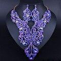 Позолоченные длинные Кристалл Ожерелье Серьги Роскошные Индийские Свадебные Ювелирные Изделия Набор