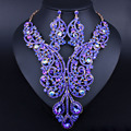 Gold Plated long Crystal Necklace Earrings Set Luxury Indian Bridal Wedding Jewelry Set