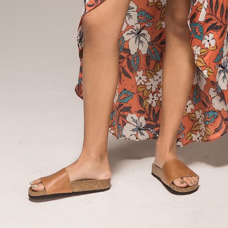 BeauToday รองเท้าแตะผู้หญิงหนังวัวแท้หนังวัวแท้ส้นแบนฤดูร้อนกลางแจ้งหญิงรองเท้าทำด้วยมือคุณภาพสูง 34009-ใน รองเท้าใส่ในบ้าน จาก รองเท้า บน   3