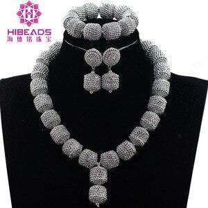 Image 2 - Yeni tasarım gümüş/altın boncuk takı seti kadınlar afrika moda takı aksesuar nijeryalı düğün boncuk seti QW1184