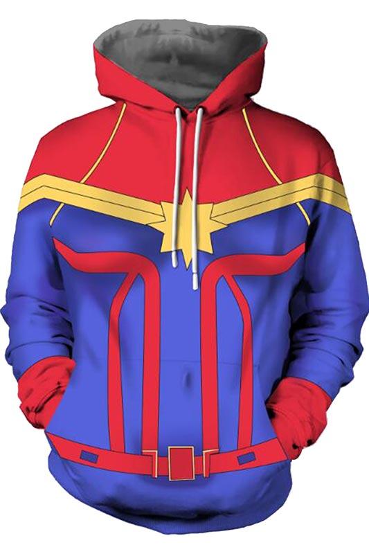 Marvel Ms Captain Marvel Carol Danvers Hoodie Superhero Zip Up Hoodie 3D Printed Zipper Up Hooded Adult Men Casual Sweatshirt