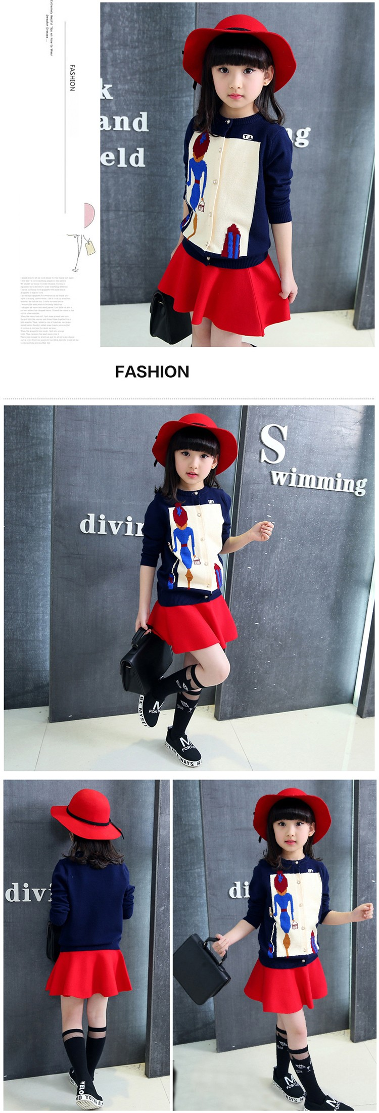 character knitting girls cardigan sweater kids red black long sleeve knitted girls sweater jacket winter autumn 2016 girls tops clothes  6 7 8 9 10 11 12 13 14 15 16 years old big little teenage  girls knitted sweater clothing (7)
