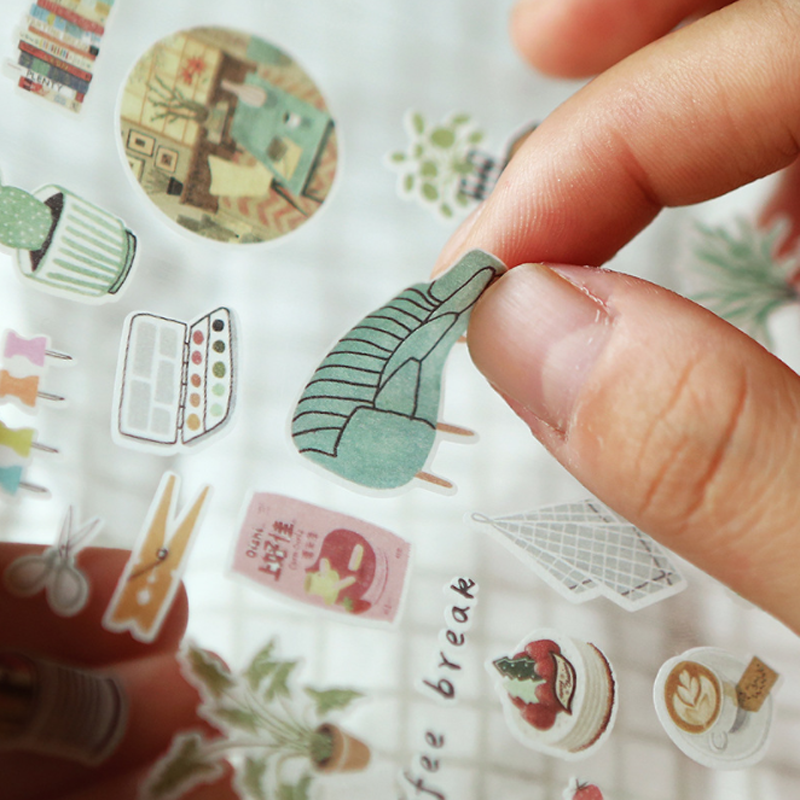 1 Sheet Cute Warm Homeland Succulent Plant Cactus Art Stickers Adhesive Stickers DIY Decoration Stickers