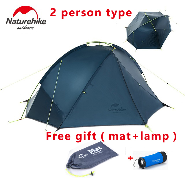 Naturehike 2 Person Hiking Tent Pro 20D Silicone Fabric Wateproof Single Pole Light Tent NH Camping Cycling Backpacking tent nh cloud outdoor single person camping tent anti rain 4seasons ultraportability 20d nylon silicone cated waterproof 8000mm
