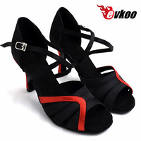 Evkoo ladies latin Ballroom dance shoes leather Soft outsole Black Red shoes dance latin Women Evkoo 461