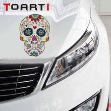 12*18CM Skull Classic Car Stickers Flower Pattern Art Decals Removable PVC Styling Motorcycle Accessories