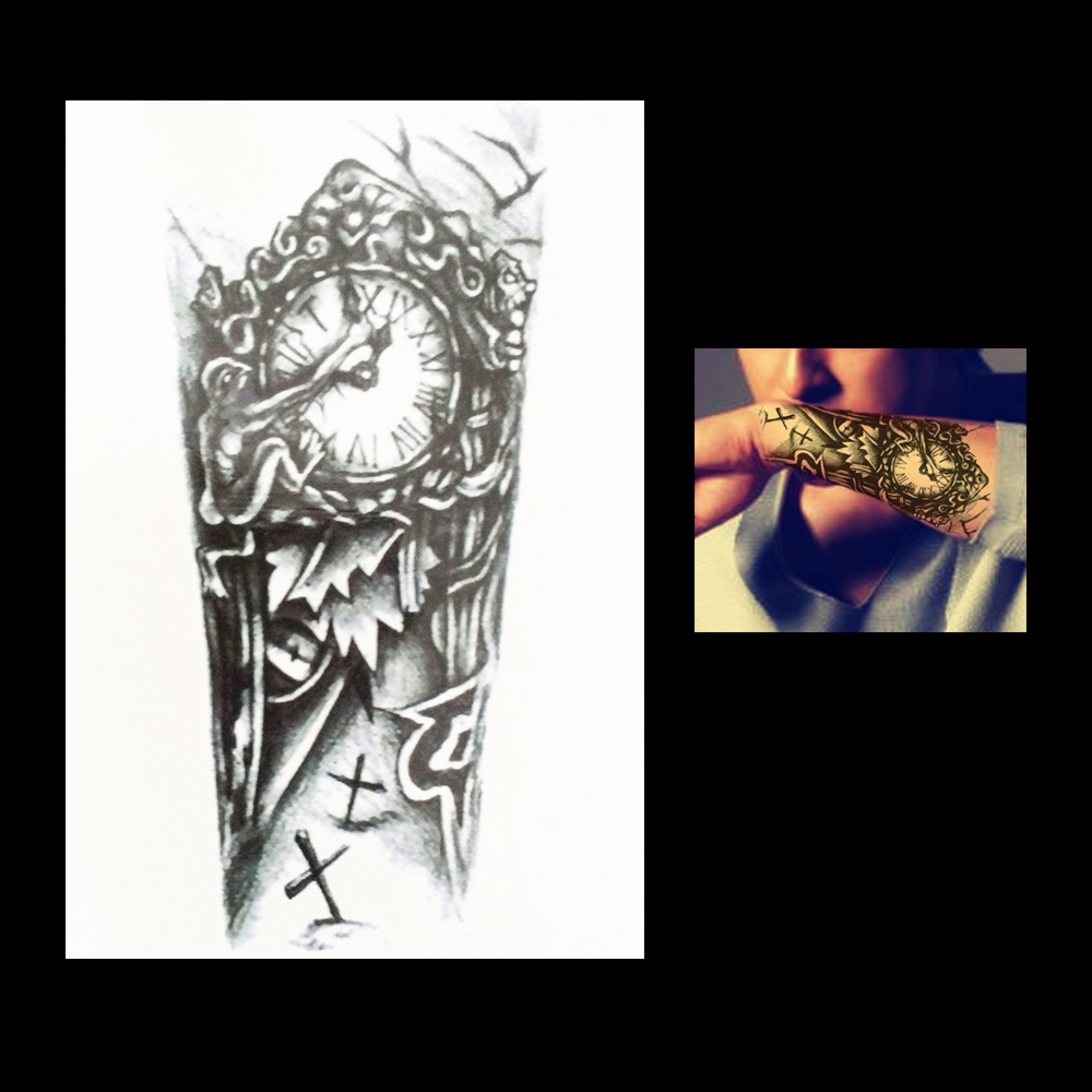 1pc Vintage Temporary Women Men Body Art DIY Tatoo HB035 Waterproof Clock Grave Cross Flower Arm Leg Tattoo Sticker Design Charm