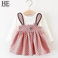 HE Hello Enjoy Baby Girl Clothes Dresses Cartoon Long Sleeve Dot Dress Newborn Baby Clothing Girls
