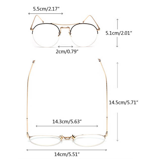 4b47631932 Vintage Men Women Round Eyeglass Frame Half Rim Glasses Lens Spectacles  Eyewear Black