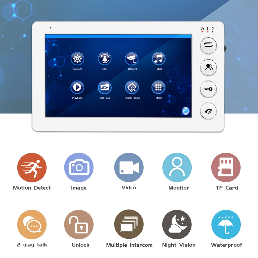 Image 2 - 960P HD Video Door phone Intercom for Home intercom system Support Motion Detect Record 32GB SD Card  Wired 7inch video Doorbell-in Video Intercom from Security & Protection