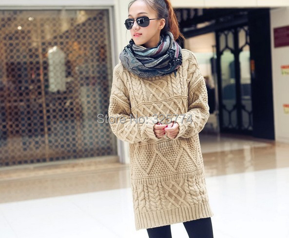 34f7704687af 2014 Autumn New Fashion Sweaters Women Casual White Long Sleeve Turtleneck  Chunky Cable thick coat dress women