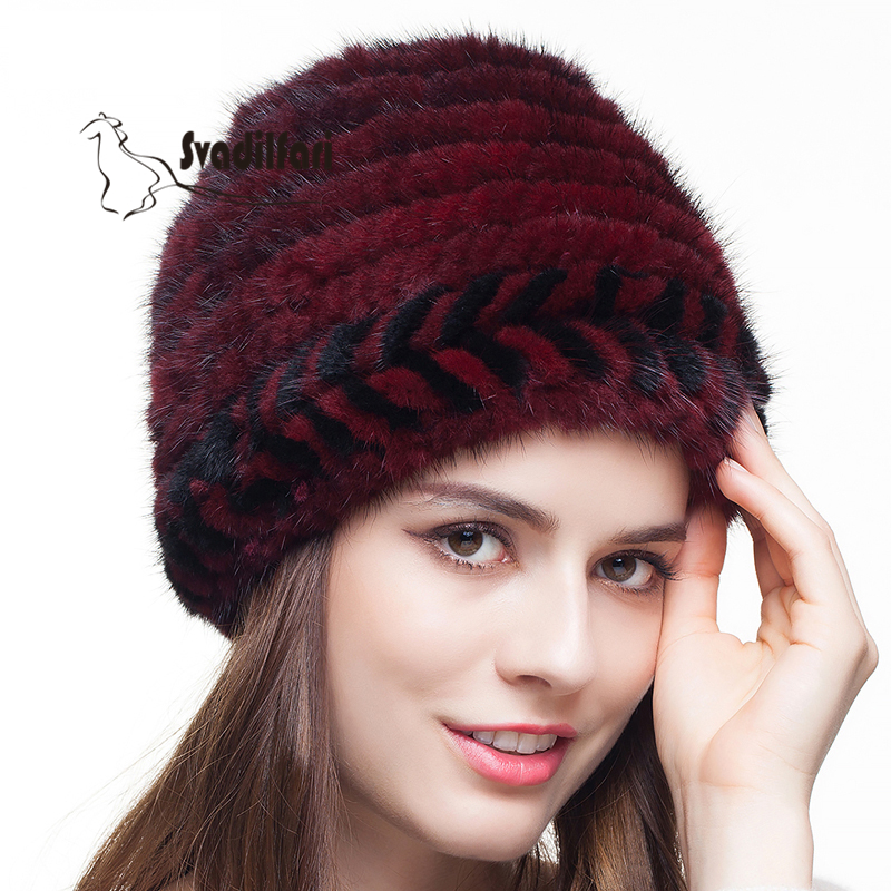 Mink knitted hat Old Leather Fur Hat Lady Winter Warm Winter Ear Muff knitted hat