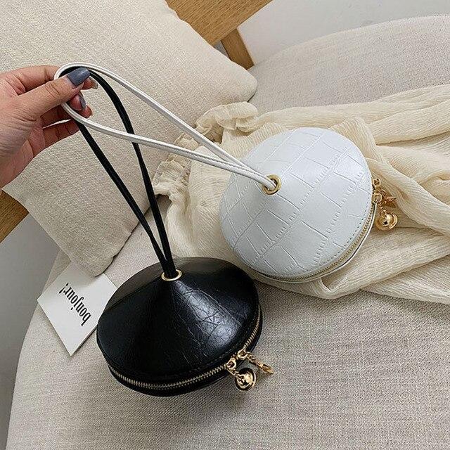 Fashion Circular PU Leather Handbag Small Round bag 2019 Circle Bags Small Purses and Handbags Brand Phone Bag Party Clutch