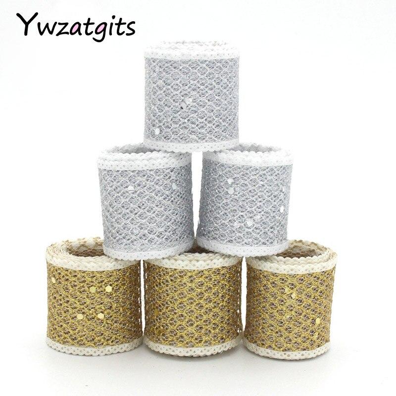 Ywzatgits 40 мм 4y/lot цвет серебристый, золотой блеск сетчатой лентой из органзы для упаковки Свадебный торт подарок украшения DIY Craft 040014004013