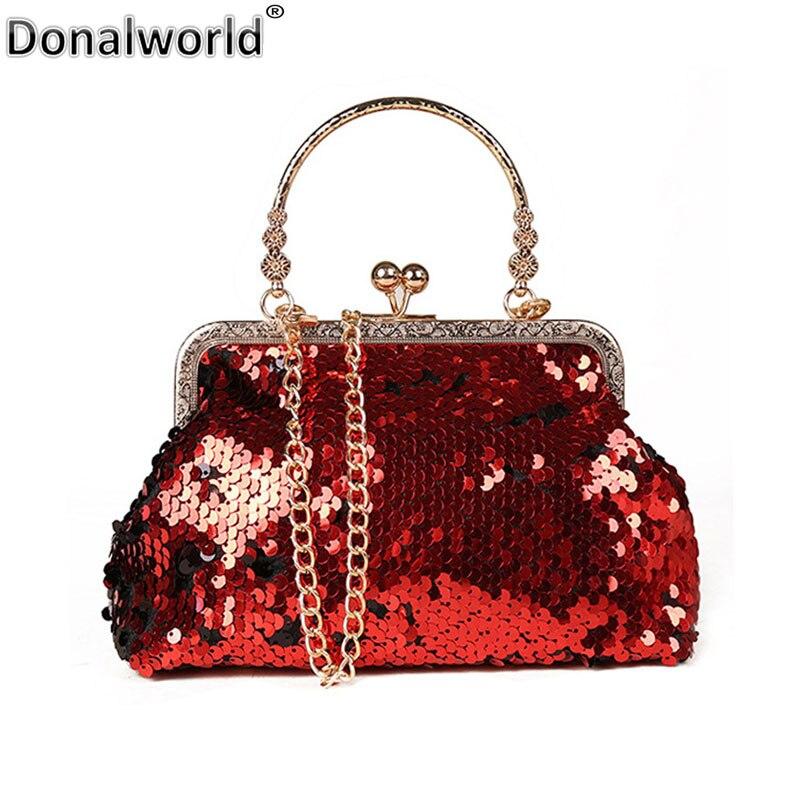 Donalworld Women Sequin Messenger Bag Womens Chain Strap Female Shoulder Bag Shell Crossbody Bags Fashion Evening Bags Purse