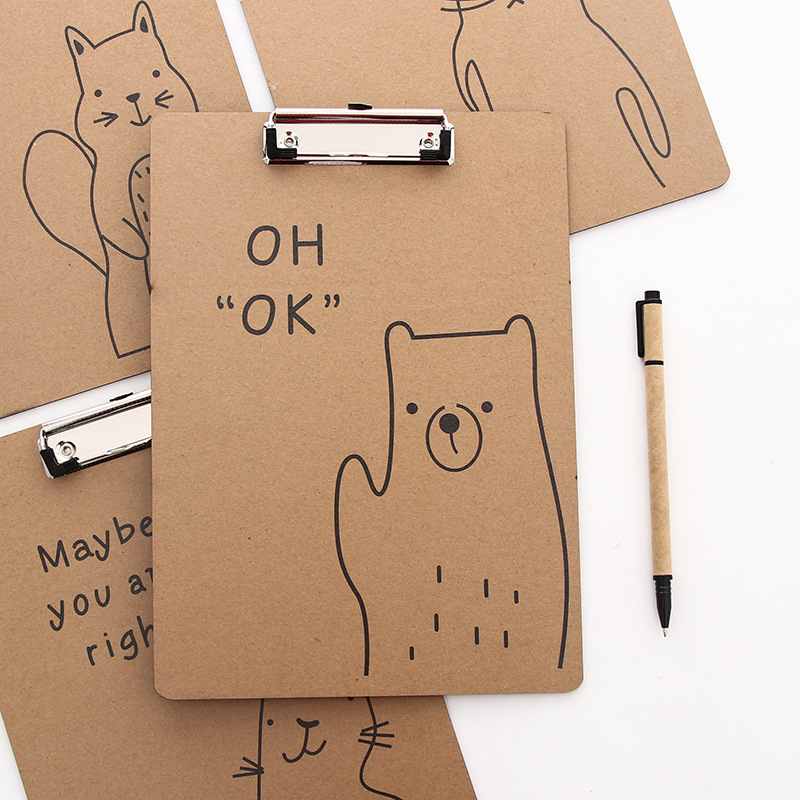 Wood A4 Creative Cartoon File Folder Fashion Office Meeting Document Recording Tool Supplies Cute Cat Bear Pattern File Folder creative cute cat pattern antiskid floor mat